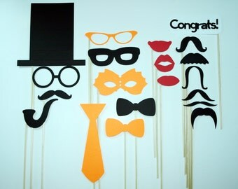Orange Photo Booth Props / Wedding / Mustache Props