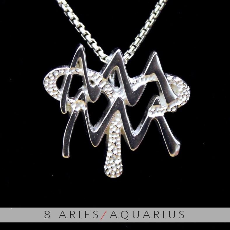 11 aries and aquarius silver unity pendant