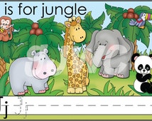 J is for JUNGLE Alphabet File Folder Game - Downloadable PDF Only