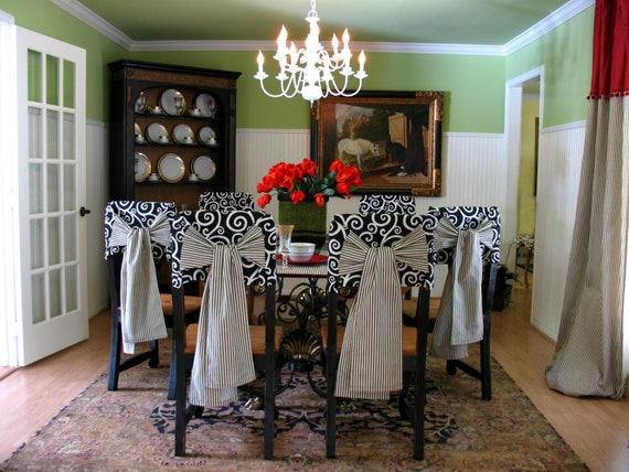 Shabby chic french country black and white by thetexasdonkey - Shabby chic dining room chair covers ...