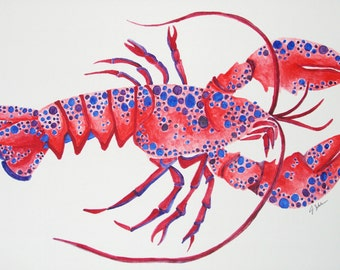 Original Hand Painted Lobster Watercolor Painting, Nautical Art, Abstract Lobster Painting, Lobster Art, Ocean Art,  Lobster Decor