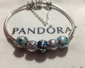 Pandora Charm Bracelet with threaded mixed materials beads
