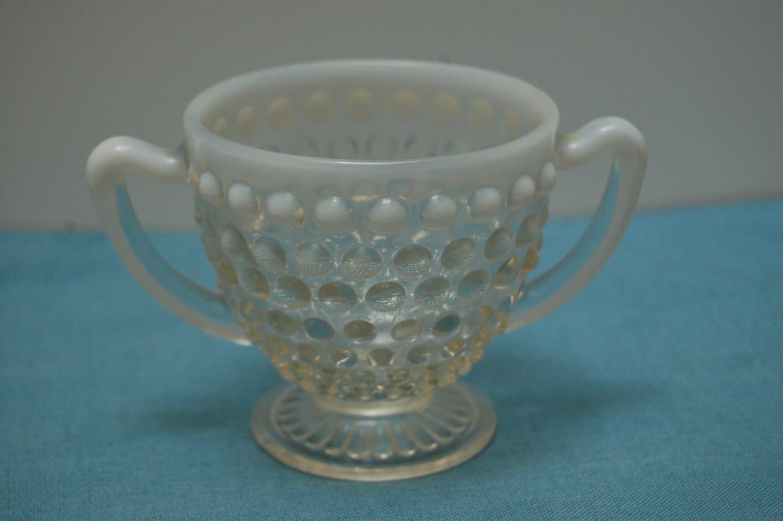 Vintage Fenton Hobnail Sugar Bowl Opalescent Moonstone
