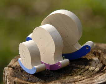 Wooden Toy, Story Game -  A Tale of Three Snails, Eco Friendly Toy, Toddler toy, Pretend toy