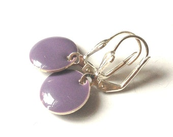 Candy - matt purple enamel earrings