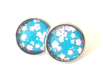 Cherry Blossom blue - Flowers - Earrings