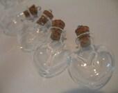 10 Heart Vials. Heart Shaped Bottles. Small Bottles with Corks. Bitty Bottles. Bottle Favors. Bottle Earrings. Bottle Charms With Cork Tops.