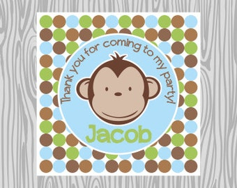 DIY - Boy Polka Dot Mod Monkey Favor Tags- Coordinating Items Available