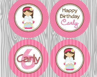 DIY - Girl Spa  Birthday Cupcake Toppers- Coordinating Items Available