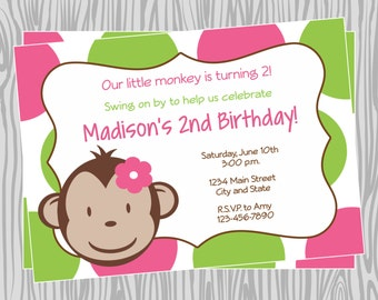 DIY - Girl Mod Monkey Birthday Party Invitation 2- Coordinating Items Available