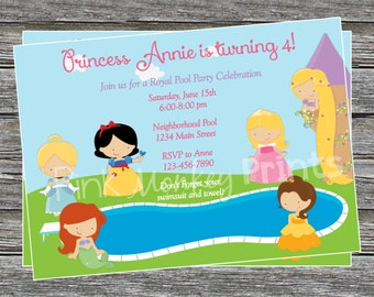 DIY - Girl Princess Pool Party Birthday Invitation - Coordinating Items Available
