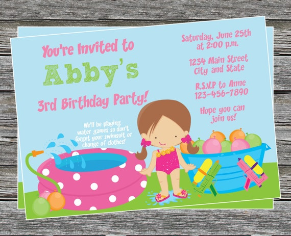 diy girl pool and water games birthday party invitation, party invitations
