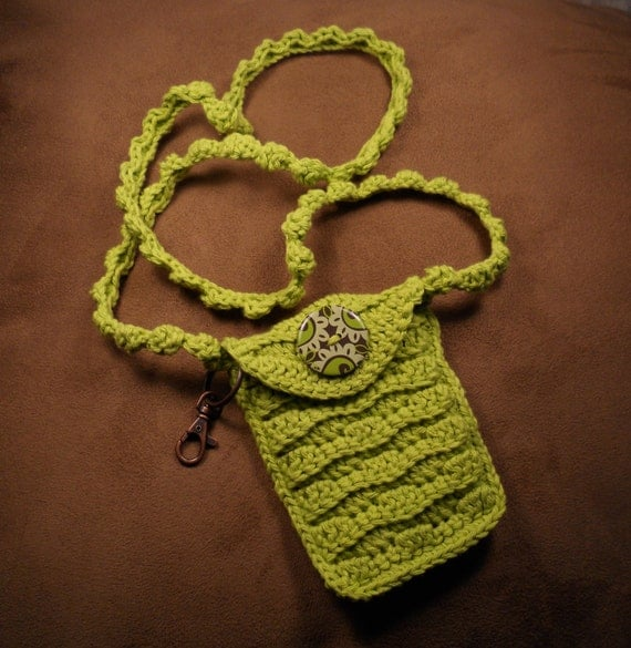 Crocheted Cell Phone Bag with Key Ring