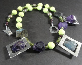 Artisan Silver and Gemstone Necklace