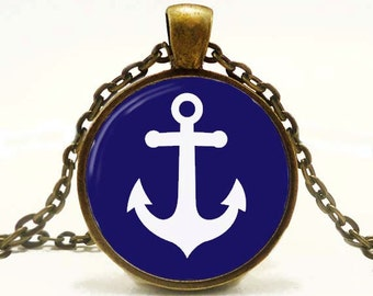 Anchor Pendant Altered Art Pendant Nautical Necklace Blue and White