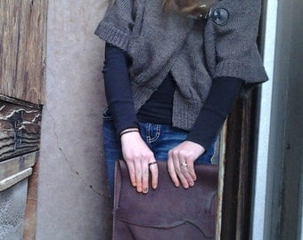 Handmade Leather Strapless Book/Tablet Satchel