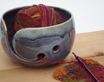 Blue Pottery Yarn Bowl, ceramic knitting bowl, Crochet bowl, yarn holder, knitting, crochet