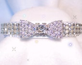 Bow Tie & White Velvet  Crystal Diamond RHINESTONE Dog Cat Pet Collar - Szs Xs, Small, Medium, ML