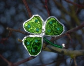 Glass Shamrock Brooch, St Patricks Day. Green. Womens Accessories and Jewellery