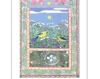 Artists Blank Note Cards,Goldfinches with Nest, Meadow, Thistles