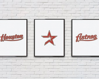 Digital Download Set of 3 Houston Astros Poster Set Typography Poster Print - Boys Room - Game Room - 8x10 11x14 12x18