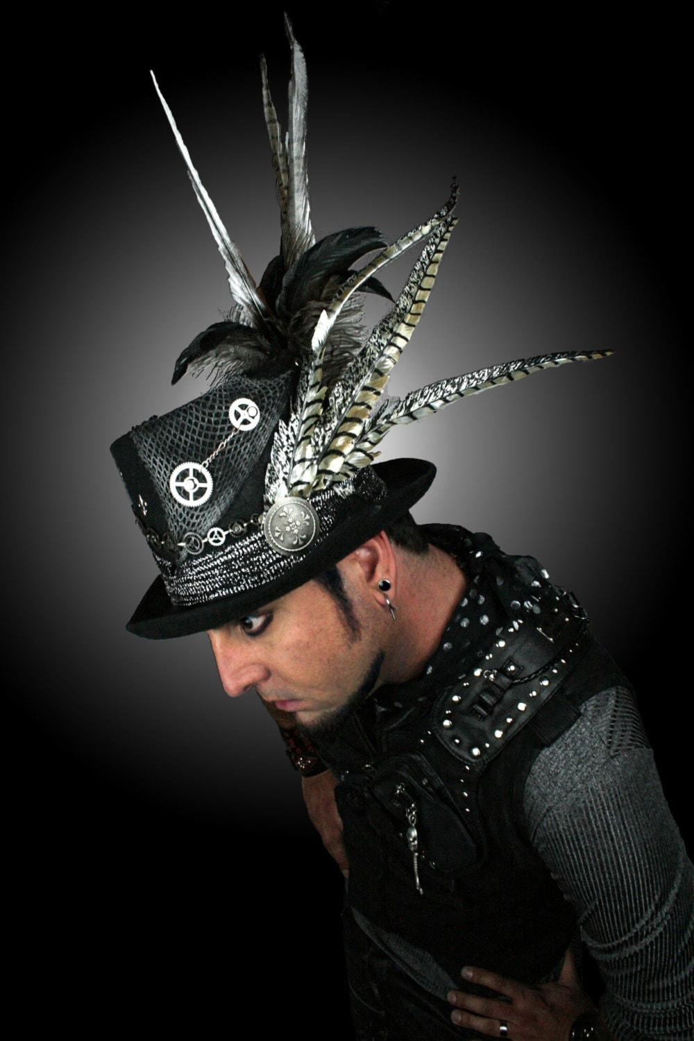 Mens Silver Steampunk Top Hat With Feathers And Fleur De Li