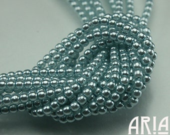 BABY BLUE: 2mm Czech Glass Pearl Beads (150 beads per strand)
