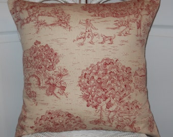 Red Toile Pillow Cover, 20''x20'' French Pillow Case,  French Country Home, Farmhouse Cottage, Decorative Pillow Cover, Toile Cushion Cover