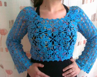 SALE Lace crocheted blouse