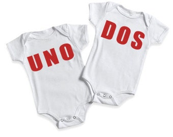Funny Baby bodysuit funny baby shirt for Twins Baby  bodysuit Bodysuits Twins Numero Uno and Numero Dos