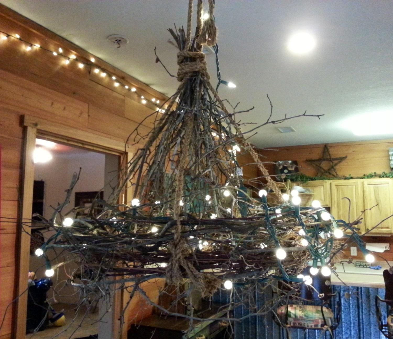 Rustic Handmade Light Fixture Twig Chandelier Branch