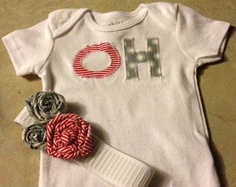 Oh-io onesie with matching headband