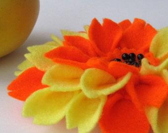 SALE! Hair clip. Felt hair clip. Flower dahlia hair accessory. Orange and yellow.