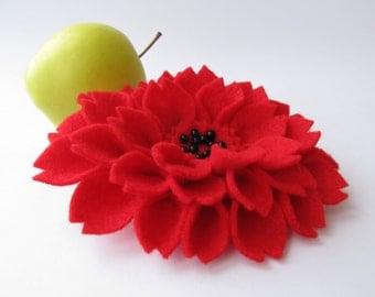 SALE! Hair clip. Felt hair clip. Flower dahlia hair accessory. Red.