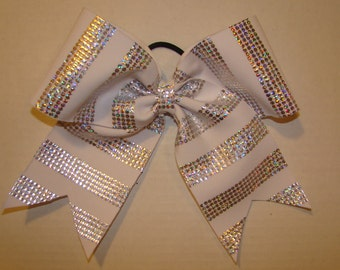 White and Shiny Silver Dot Striped Cheer Bow