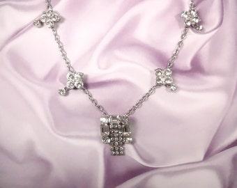 Vintage Art Deco Rhinestone Pin Necklace Silvertone One Of A Kind OOAK