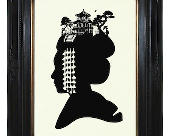 Silhouette Girl Woman Japanese Geisha Maiko hair kanzashi kawaii Victorian Steampunk art print