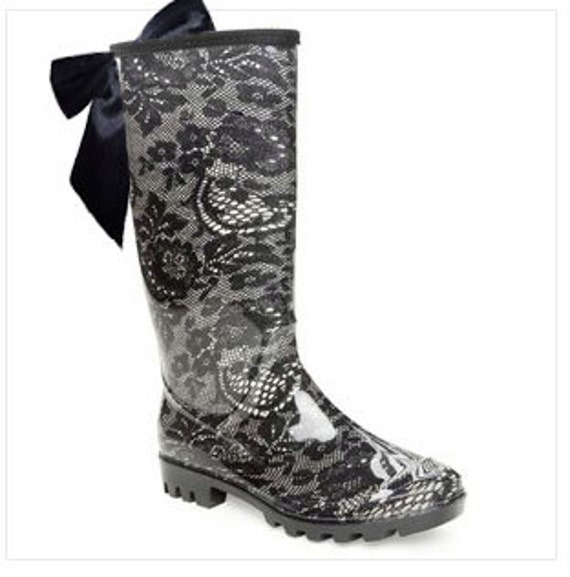 Black Lace Rain Boot with Black Lace Up Bow Last Pair