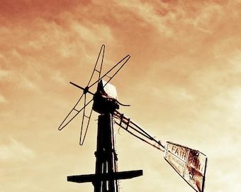 Rustic Photography, windmill, Fairbury windmill, rustic windmill,  sunset, orange sky, rustic, amber, orange, black,  Country Home Decor