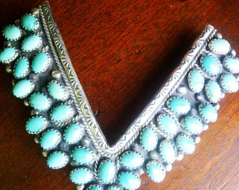 Fabulous Zuni Natural Old Pawn Turquoise Large Collar Tips