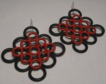 Rubber Circle Earrings - Red on Black