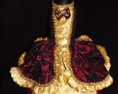 designer Mary Antoinette dress gold/burgundy