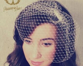 ZOOEY - bridal birdcage veil, birdcage, russian netting, blusher veil, bridal birdcage veil, wedding head piece, russian netting birdcage
