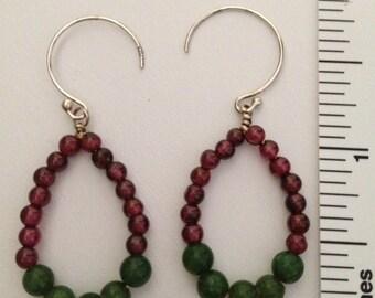 Sterling silver red garnet and green jade hoop earrings