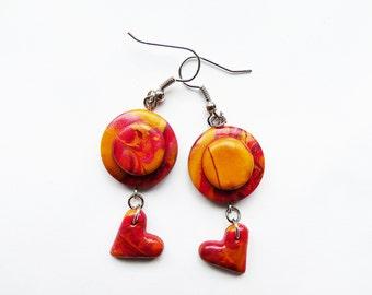 OOAK Polymer clay earrings Abstract earrings Red earrings Yellow earrings Golden earrings Heart earrings Dangle Casual Spring earrings