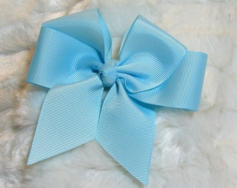 Solid Pastel Powder Blue Girls 4 inch Single Hair Bow With Your Choice of Clip