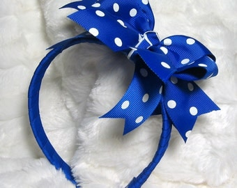 Large Royal Blue with White Polka Dot Ribbon Wrapped Wide Headband - Lots of Color