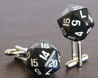 Black 20 Sided Dice Cufflinks d20 Free gift Bag