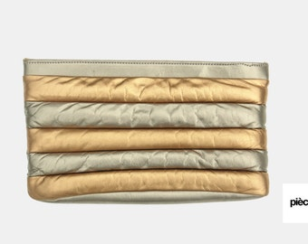 Metallic leather quilted bag