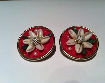 1950's handcrafted clip on earrings.